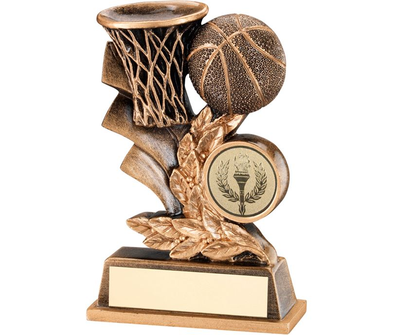 "Gold Basketball Hoop & Ball Leaf Plaque Trophy 10cm (4"")"