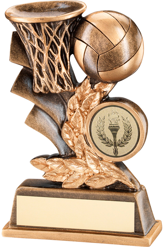 "Gold Netball Hoop & Ball Leaf Plaque Trophy 12.5cm (5"")"
