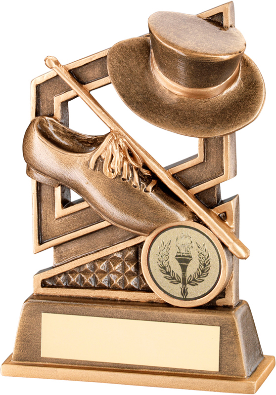 """Gold Tap Dance Trophy with Diamond Pattern 13.5cm (5.25"""")"""