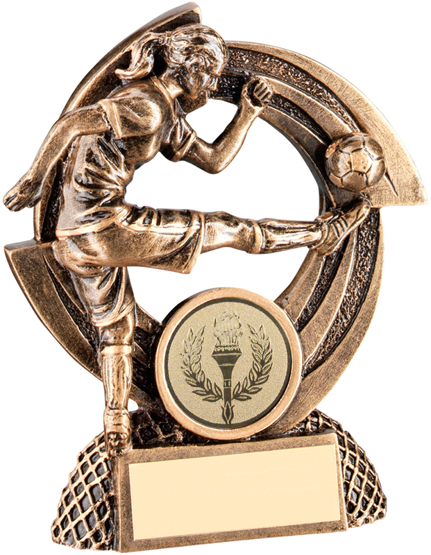"""Gold Action Female Football Player Trophy on Round Frame 11.5cm (4.5"""")"""