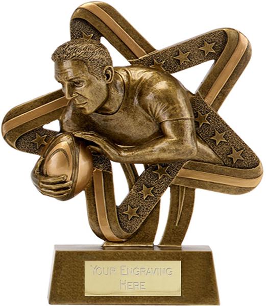 "Antique Gold Resin Stars & Stripes Rugby Trophy 8.5cm (3.25"")"
