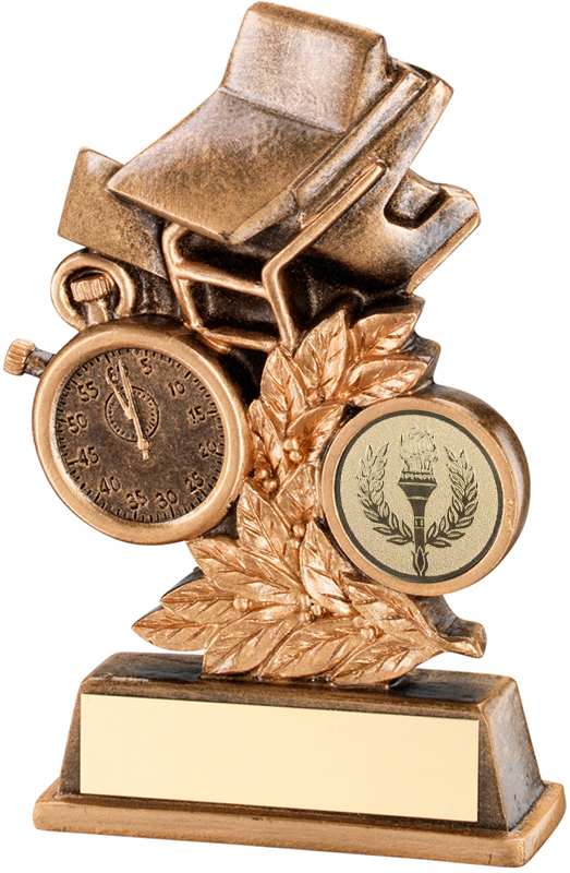"Antique Gold Swimming Leaf Plaque Trophy 12.5cm (5"")"