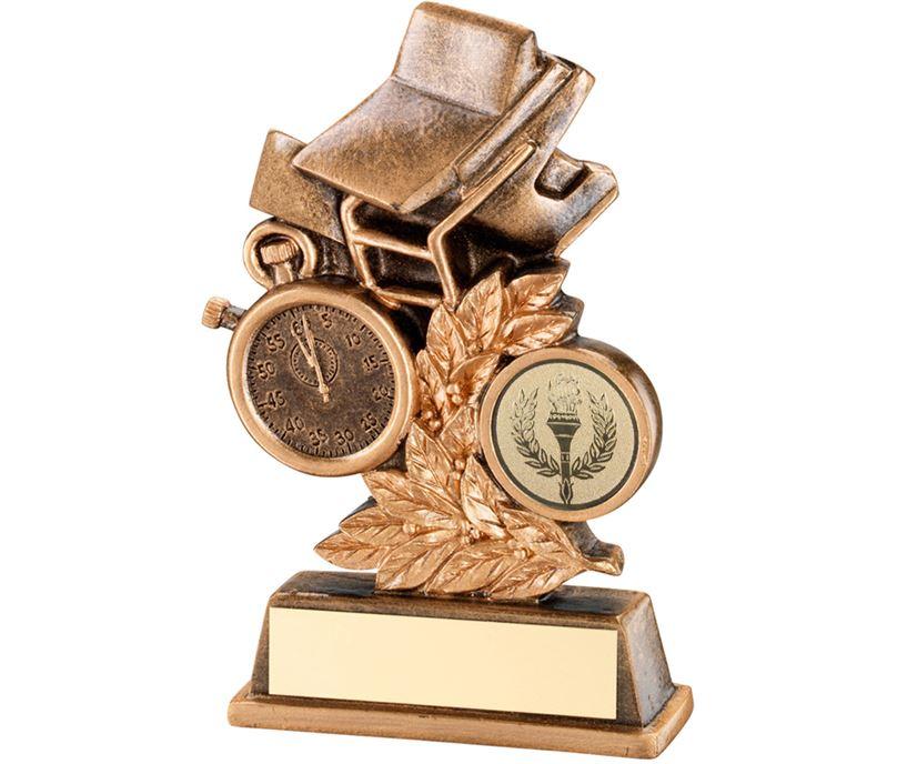 "Antique Gold Swimming Leaf Plaque Trophy 11.5cm (4.5"")"