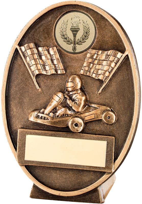"Gold Oval Karting & Chequered Flags Plaque Trophy 11cm (4.25"")"