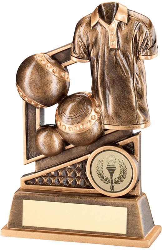 "Antique Gold Lawn Bowls & Shirt Trophy with Diamond Pattern 14cm (5.5"")"