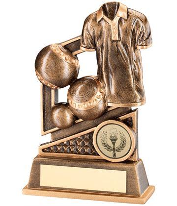 "Antique Gold Lawn Bowls & Shirt Trophy with Diamond Pattern 12cm (4.75"")"