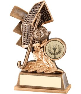 "Gold Field Hockey Leaf Plaque Trophy 13.5cm (5.25"")"