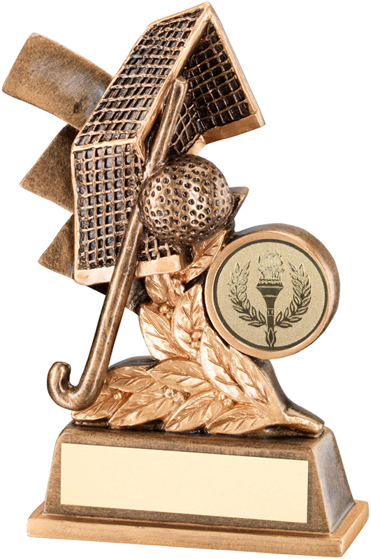 "Gold Field Hockey Leaf Plaque Trophy 11cm (4.25"")"