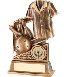 "Gold Ten Pin Bowling Trophy with Diamond Pattern 14.5cm (5.75"")"