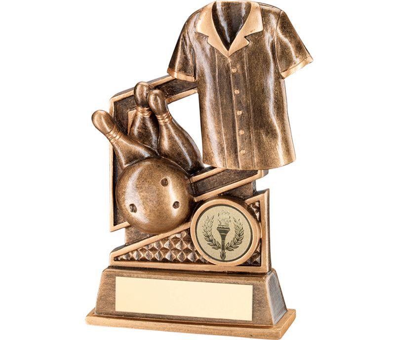 "Gold Ten Pin Bowling Trophy with Diamond Pattern 12cm (4.75"")"
