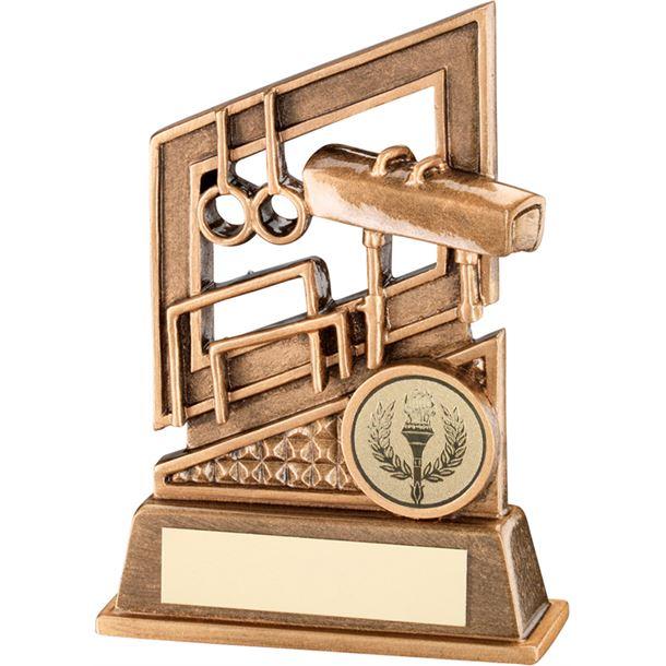 "Antique Gold Gymnastics Trophy with Diamond Pattern 13.5cm (5.25"")"