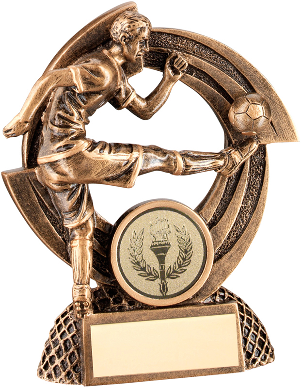 "Gold Flatback Male Action Football Player Trophy 11.5cm (4.5"")"