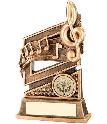 "Gold Music Trophy with Diamond Pattern & Music Notes 15cm (6"")"