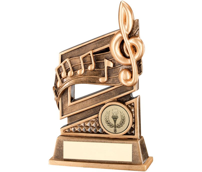 """Gold Music Trophy with Diamond Pattern & Music Notes 15cm (6"""")"""