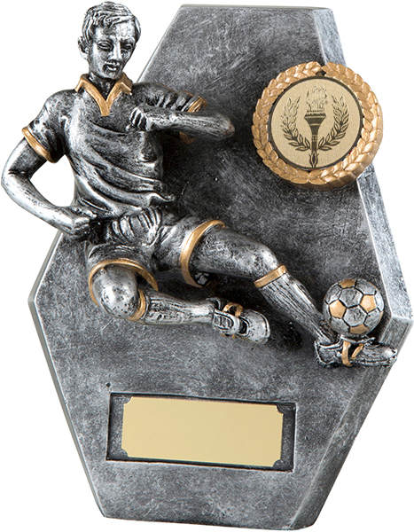 "Antique Silver Football Player in Action Plaque Trophy 14cm (5.5"")"