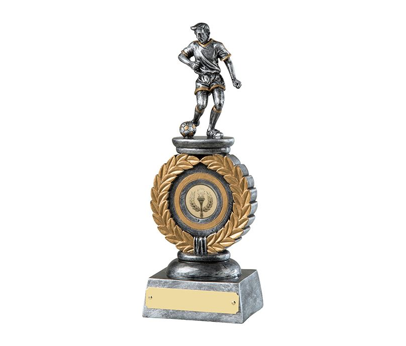 "Silver & Gold Resin Football Trophy with Laurel Wreath Design 23cm (9"")"