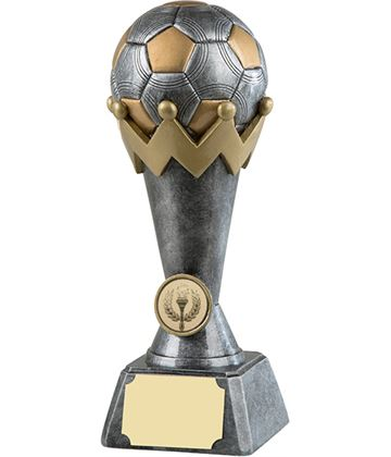 "3D Antique Silver & Gold Resin Football Trophy 21cm (8.25"")"