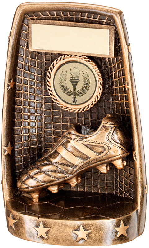 "Gold 3D Football Trophy with Net & Boot Design 16.5cm (6.5"")"