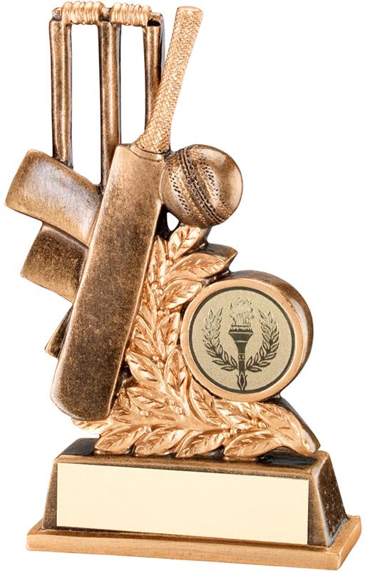 """Antique Gold Cricket Bat & Wicket Leaf Trophy 11.5cm (4.5"""")"""