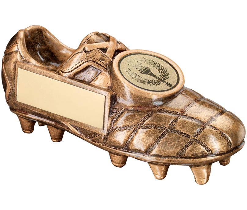 """Gold Football Boot Trophy with Centre Disc 15cm (6"""")"""