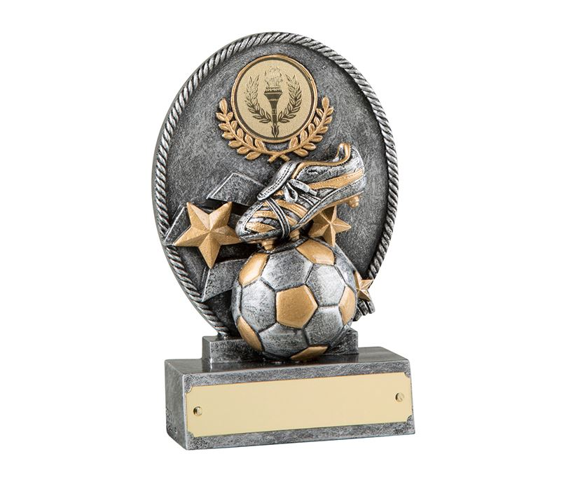 "Silver & Gold Resin Football Trophy with Ball & Boot Design 13.5cm (5.25"")"
