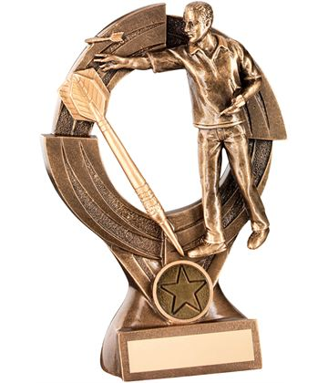"Gold Male Darts Player Trophy with Large Gold Dart 21cm (8.25"")"