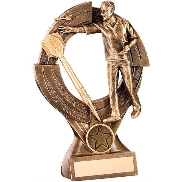 """Gold Male Darts Player Trophy with Large Gold Dart 21cm (8.25"""")"""