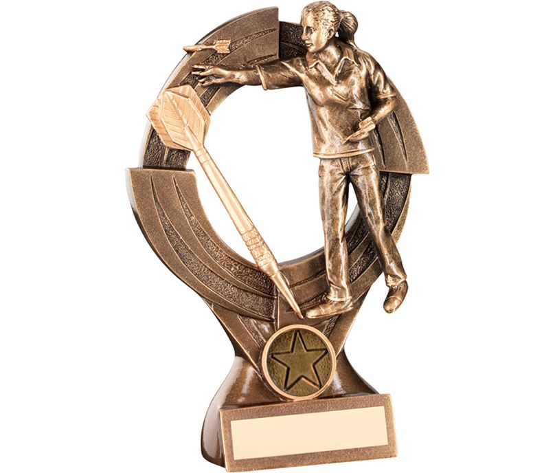 "Gold Female Darts Player Trophy with Large Gold Dart 21cm (8.25"")"