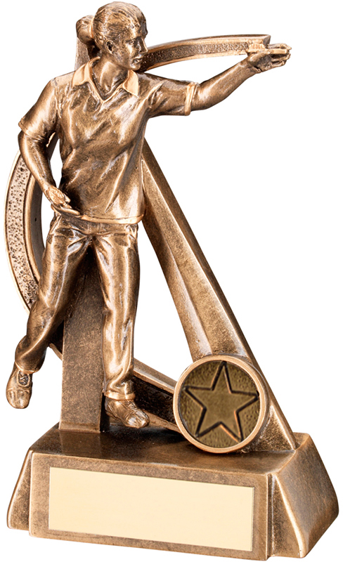 """Gold Resin Female Darts Player in Action Trophy 16cm (6.25"""")"""