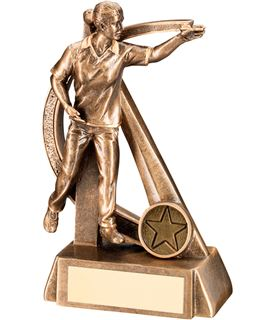"""Gold Resin Female Darts Player in Action Trophy 18cm (7"""")"""