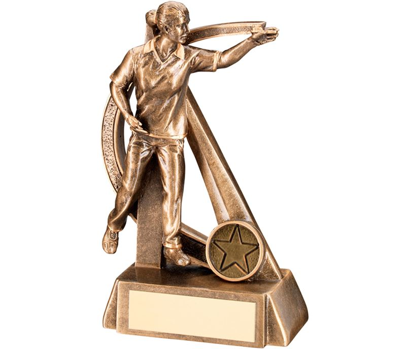 "Gold Resin Female Darts Player in Action Trophy 16cm (6.25"")"