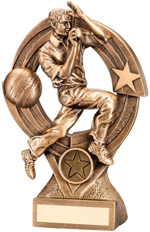"Gold Cricket Bowler in Action Trophy 15cm (6"")"