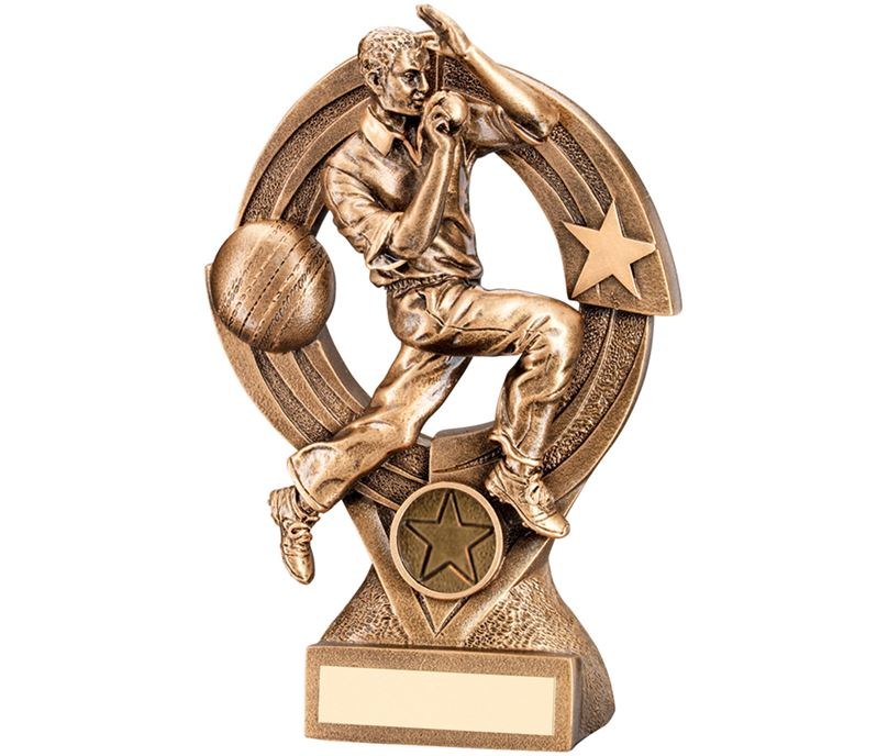 "Gold Cricket Bowler in Action Trophy 21cm (8.25"")"