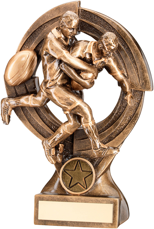 "Gold Male Action Rugby Player Tackle Trophy 21cm (8.25"")"