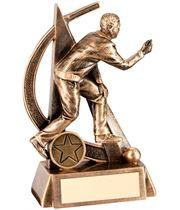 """Antique Gold Male Lawn Bowls Figure Trophy 14.5cm (5.75"""")"""