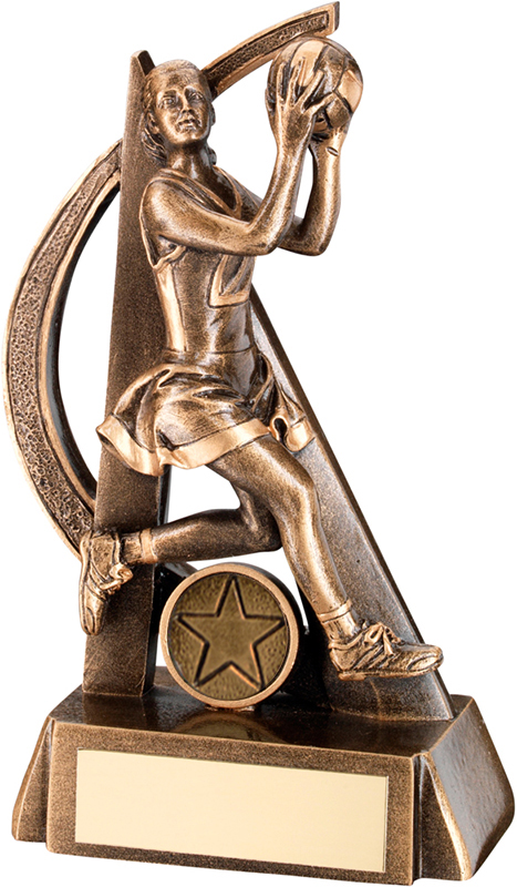 """Antique Gold Netball Player in Action Trophy with Gold Trim 16cm (6.25"""")"""