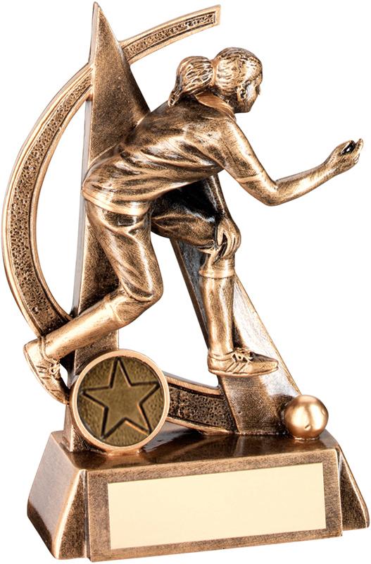 """Antique Gold Female Lawn Bowls Figure Trophy 16.5cm (6.5"""")"""