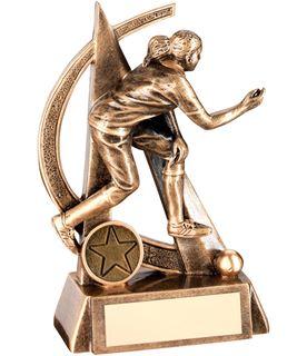 """Antique Gold Female Lawn Bowls Figure Trophy 14.5cm (5.75"""")"""