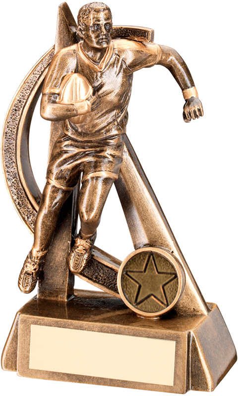 """Rugby Player in Action Trophy with Gold Trim 15cm (6"""")"""
