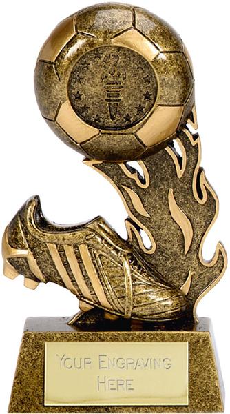 """Resin Ball & Boot Football Scorcher Trophy 12cm (4.75"""")"""