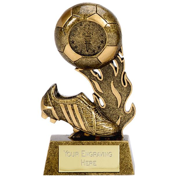 "Resin Ball & Boot Football Scorcher Trophy 12cm (4.75"")"