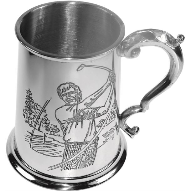 "Golf Scene Patterned 1pt Sheffield Pewter Tankard 11.5cm (4.5"")"