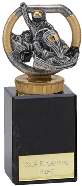 "Silver & Gold Plastic Karting Trophy on Marble Base 14.5cm (5.75"")"