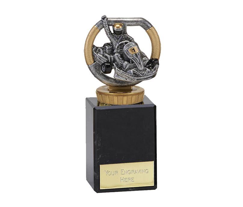 "Silver & Gold Plastic Karting Trophy on Marble Base 14.5cm (5.75"")"