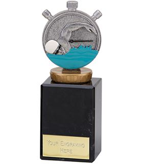"""Silver Swimming Clock & Swimmer Trophy on Large Marble Base 12.5cm (5.75"""")"""