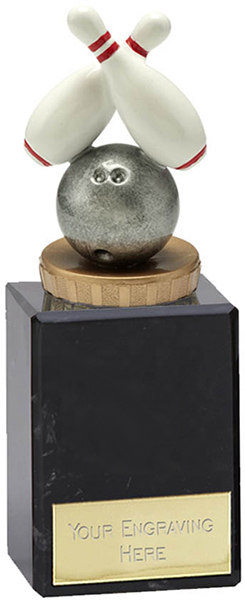 "Plastic Ten Pin Bowling Trophy on Large Marble Base 14.5cm (5.75"")"