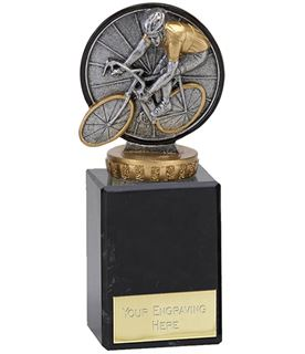 "Antique Silver Classic Cycling Trophy on Marble Base 12.5cm (5.75"")"