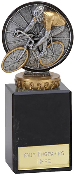 """Antique Silver Classic Cycling Trophy on Marble Base 14.5cm (5.75"""")"""
