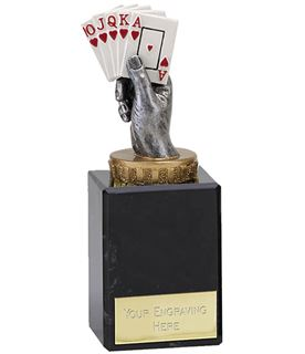 "Royal Flush Playing Cards Trophy on Marble Base 14.5cm (5.75"")"