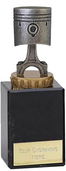 """Silver & Gold Plastic Piston Trophy on Marble Base 14.5cm (5.75"""")"""